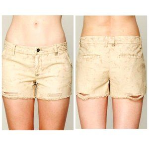 FREE PEOPLE Acid Wash Distressed Tan Shorts